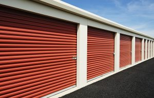 Row of locked self-storage units